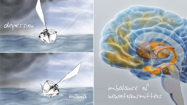 If the cargo of a sailboat is not properly made fast in high winds, it will start to shift, causing the boat to list more and more. This process can be compared to the imbalance of neurotransmitters in the brain of a patient suffering from bipolar disorder.